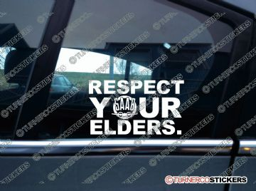 RESPECT YOUR ELDERS stickers - Vintage SAAB theme classic retro